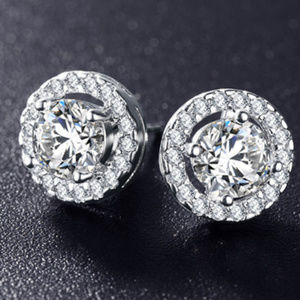 NEW Silver Cubic Zirconia Stone Stud Earrings